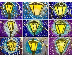Art For Kids, Crafts For Kids, Winter Art Projects, 4th Grade Art, Art Lessons Elementary, Preschool Art, Art Plastique, Christmas Art, Art School