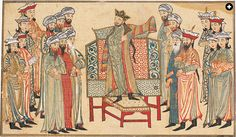 An illustration from Rashid al-Din's 14th-century Jami' al-Tawarikh (Universal History) shows Mahmud ibn Sebuktekin, the first independent Ghaznavid ruler, receiving a richly decorated robe of honor from the caliph.