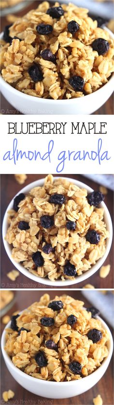 Blueberry Maple Almond Granola -- an easy 6-ingredient recipe for healthy granola full of crunchy clusters!