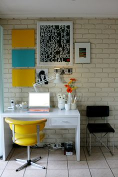 interior design, office spaces, office designs, brick, small offices, desk, small homes, home offices, workspac