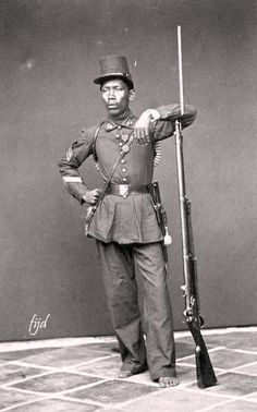 Tentara KNIL Pribumi di Batavia, sekitar 1870