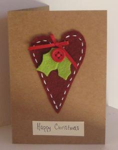 Felt Heart Christmas Card ~ The Sparkly Fairy Source by esmazisan Christmas Card Crafts, Homemade Christmas Cards, Handmade Christmas Decorations, Christmas Fairy, Christmas Cards To Make, Homemade Cards, Christmas Ideas, Christmas Labels, Christmas Things