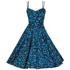 1950's Turquoise Mexican Sequin Cotton Animal Novelty Sun Dress