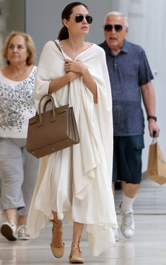 Angelina Jolie Looks Seriously Angelic During a Trip to the Mall with Her Kids from InStyle.com
