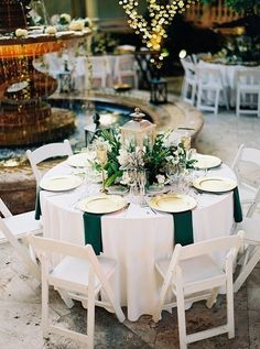 20 Hunter Emerald Green Wedding Color Ideas You'll Love - Table Settings Emerald Wedding Dresses, Emerald Wedding Colors, Emerald Green Weddings, Floral Wedding, Orchid Wedding Cake, Wedding Flowers, Green Wedding Decorations, Green Centerpieces, Wedding Table Centerpieces