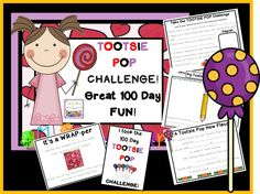 Want a little quiet on the Day of school? Try this Tootsie POP Challenge! All you need is a bag of Tootsie POPS and this file! School Daze, 100 Days Of School, School Stuff, 100s Day, Second Grade Math, Grade 1, 100 Day Challenge, Tootsie Pops, Kindergarten Activities