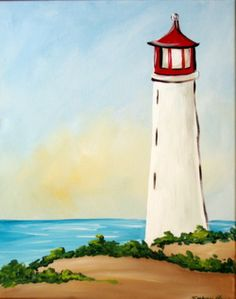 """Would like to paint on you own at home, but don't know where to start? Why not try """"Lighthouse"""" with these step-by-step instructions."""