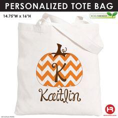 Chevron Pumpkin Tote Bag - Personalized Pumpkin Bag - Personalized Halloween Bag - Monogram Trick or Treat Halloween Bag by HeatherRogersDesigns on Etsy