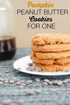 Easy Pumpkin Peanut Butter Cookies- these cookies are so easy to whip up and are high in fiber, very low in sugar and a whole serving for one!