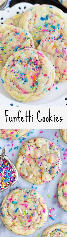 Funfetti Cookies -- These were so good and easy to make (no mixer)!