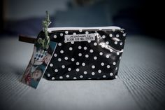 Mini Remix Dot on Black Laminated Cotton Pouch/makeup bag by FourLittleTrees on Etsy
