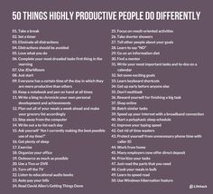 50 Things Highly Productive People Do Differently success goals self improvement entrepreneurs self help productive productivity entrepreneurship Professional Development, Self Development, Personal Development, Leadership, To Do Planner, Learning To Say No, Life Learning, Productivity Hacks, Increase Productivity