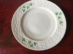 """Irish Belleek Shamrock Basket Weave Plate 2nd Generation Green Mark Approx 8""""…"""
