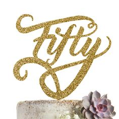 50 Fiftieth 50th Fifty Cake Topper Birthday Party Wedding Anniversary Acrylic