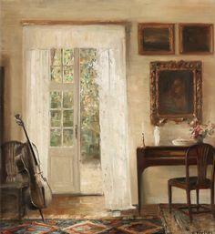 Carl Holsøe (1863-1935): Interior with a cello