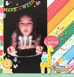 Scrapbook your favorite birthday memories with this Make A Wish layout by @reneezwirek using the #HappyHooray collection by @pebblesinc #sponsored