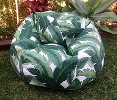 This is SO COOL! I love this tropical ndoor outdoor Bean Bag. Bring a bit of tropical paradise to your home   It looks equally as fabulous inside and out.  Cover Only. Does not include the inner beans.  Small is approx 75cm wide x 60cm high. Suitable for small child up to about 7 years. Medium is approx 85cm wide x 95cm high. Suitable for a child and up to a small adult. Large measures approx 95cm wide x 105cm high when filled with the beans and held at the tip of the bag to take the…