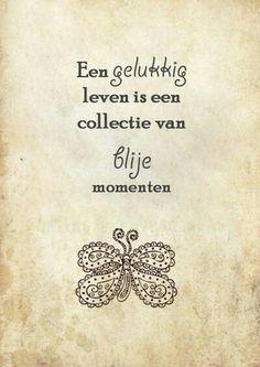 'Een gelukkig leven is een collectie van blije momenten.'