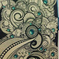 """Agrammon"" color started #mandala #mandalas #zendoodle #zentangle #prismacolor #copicmarkers #chameleonpens #ink #tattoos #tattoo #tatts #lineworktattoo #linesanddots #dotsandlines #swirls #fantasy #fancy #ornate #workinprogress #doodles #doodlesofinstagram #doodle #doodler #art #artist #drawings #anxietyreliefalternatives #depressionrelief"