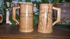 """USMC Eagle Globe & Anchor Mugs  They are made of reclaimed oak.  Wood burning by Jon Ward  Stand 6 9/16"""" tall  Hold around 22oz +/-.  Finished with;  outside with acrylic  inside with FDA approved epoxy that is designed to coat the inside of beer vats"""
