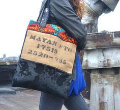 Burlap and Leather Tote Bag  Burlap Tote Bag  by Liquidshiva, $66.00