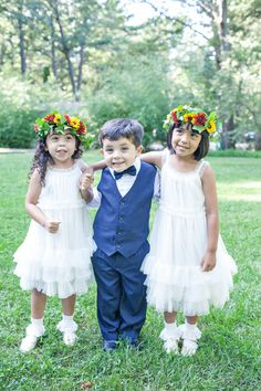 Ideas in Bloom | colorful flower girl halos | Flirty Fleurs