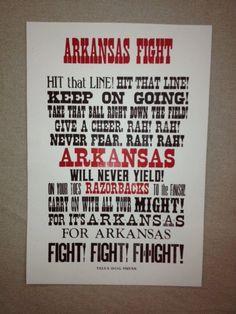 Arkansas Razorback Fight Song Letterpress Print Poster Art Football Basketball Go Hogs