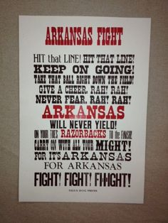 Arkansas Razorback Fight Song Letterpress Print Poster Art Football Basketball Go Hogs