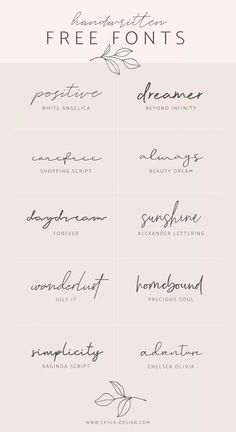 Handwritten free fonts – Skyla Design