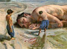 """Este es un cuadro respresentando el cuento """"El ahogado mas hermoso del mundo"""". Es importante este recurso porque enseña cuando los niños del cuento encuentran al ahogado, y es en donde el cuento comienza."""