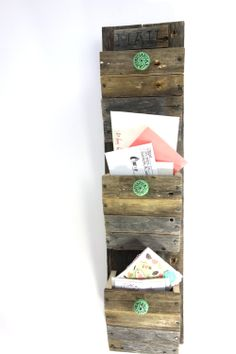 Wall Mounted Organizer - Reclaimed Wood Mail Organizer - Go Green -  Rustic 3 Bin Mail Sorter. $49.99, via Etsy.