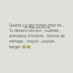 Quand y a des invités chez toi ... Funny Memes Images, Funny Photos, Best Tweets, Image Fun, Bff Quotes, Humor, Laugh Out Loud, True Stories, Hilarious