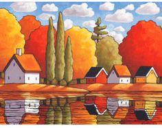 PAINTING ORIGINAL Folk Art Fall River Cottage por SoloWorkStudio