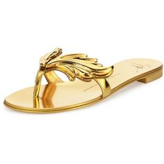 Giuseppe Zanotti Flame Metallic Flat Thong Sandal ($740) ❤ liked on Polyvore featuring shoes, sandals, oro, giuseppe zanotti shoes, flat pumps, leather sole shoes, metallic flat shoes and metallic sandals