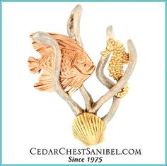 Another Cedar Chest original design inspired by the beauty of the sea.   14Kt Sealife Pendant with Rose Gold Fish, Yellow Gold Seahorse and Scallop and White Gold Seaweed.