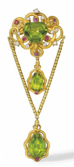 Peridot, Diamond And Ruby Brooch Mounted In Gold c. 1860's   -   Christie's