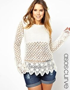 Shop ASOS CURVE Crochet Village Jumper at ASOS. Curvy Girl Fashion, Womens Fashion, Plus Zise, Casual Outfits, Cute Outfits, Plus Size Kleidung, Asos Curve, Plus Size Fashion For Women, Swagg