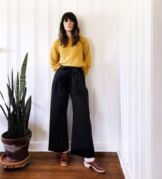 Out Of Sight Crew & Bay Wide Leg Pant by Kowtow. Ethical organic cotton.
