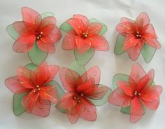 Hey, I found this really awesome Etsy listing at http://www.etsy.com/listing/118011285/vintage-pointsettia-ornaments-lot-6