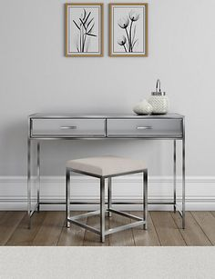 Skylar Dressing Table & Stool | M&S Dressing Table With Stool, M&s Dressing Table, Dressing Room, Grey Bed Frame, Dressing Mirror, Traditional Bedroom, Dining Room Lighting, Bedroom Furniture, Furniture Design