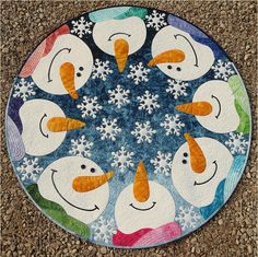 Kisses From Heaven Snowman Snowflake JoAnn Hoffman Applique Wall Quilt Pattern Christmas Rock, Christmas Sewing, Christmas Crafts, Christmas Tree, Applique Quilt Patterns, Wool Applique, Pattern Fabric, Snowman Quilt, Quilted Table Runners