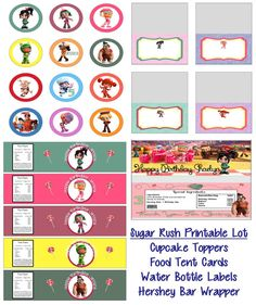 Disney Wreck It Ralph Sugar Rush Vanellope Birthday Party Printable Lot Package Favors and More