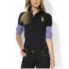 Ralph Lauren Pony Women Mesh Embroidery Polo Black [rl 955] - $40.14 : Ralph