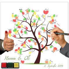 Fingerabdruckbaum auf Leinwand, Hochzeitsideen von galleryy GmbH auf DaWanda.com