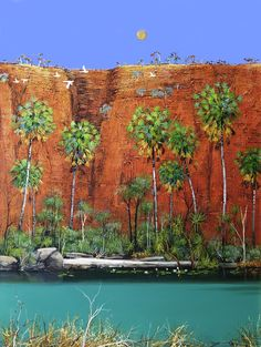 © Ingrid Windram />Cockatoos and the Kimberley Red<br>Acrylic on x 91 cm<br>Sold Contemporary Landscape, Landscape Art, Landscape Paintings, Australian Painting, Australian Artists, Seascape Paintings, Cool Paintings, Australia Landscape, Indigenous Art