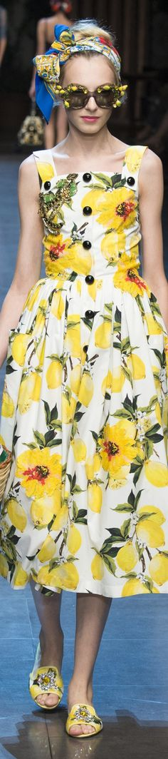 Dolce & Gabbana Spring 2016 Add a touch of summer, perfect for a citrus wedding. For more citrus wedding ideas, visit http://www.styleandthebride.co.uk/citrus-wedding-inspiration-for-your-big-day/
