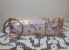 Vintage Gold Mesh Sequined Enamel Design Clutch by TreasuresFromUs