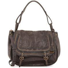 Frye Anna Hammered Leather Hobo Bag, Charcoal