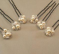 Cream Pearl Wedding Hair Accessories Bridal by BridalDiamantes