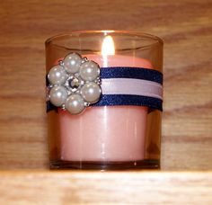 Candle Holder / Spring Wedding / Navy Blue by CarolesWeddingWhimsy, This set of 6 Navy Blue and Blush Pink Wedding Votive Candle Holder with a Pearl and Rhinestone Brooch is perfect for a Spring Wedding, Fall Wedding or any wedding.  They are fabulous gifts and excellent Bridal Shower or Baby Shower Decor.  You can find them at https://www.etsy.com/listing/254446346/candle-holder-spring-wedding-navy-blue